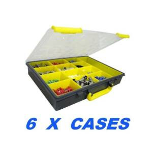 6 X Plastic Storage Cases 13 Compartment