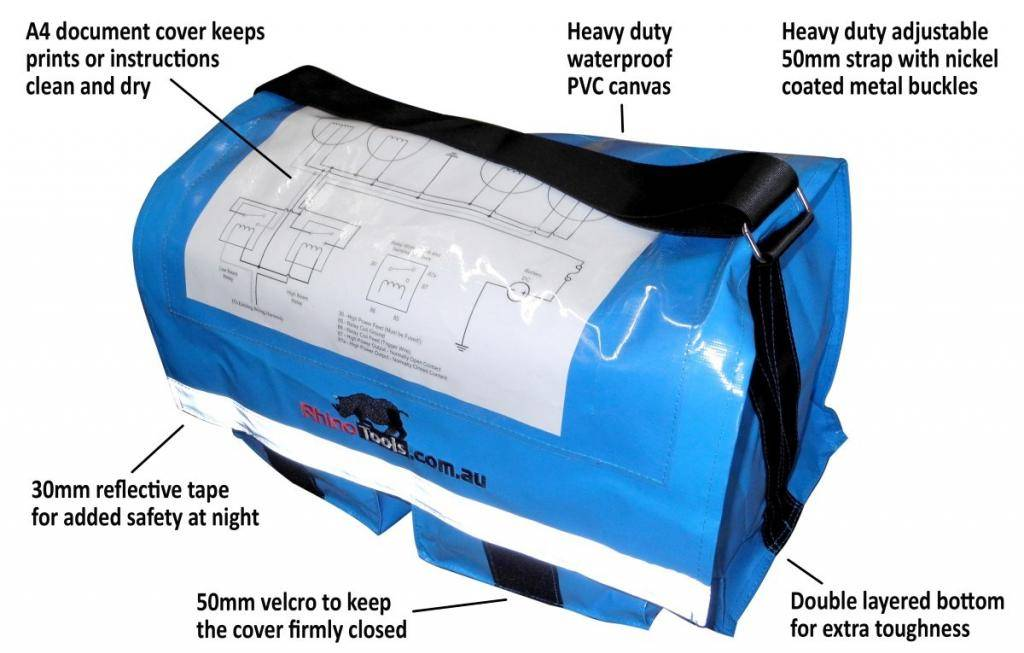 Heavy duty electricians waterproof tool bag