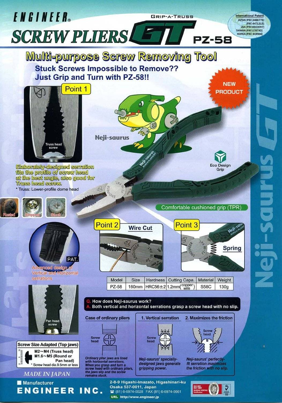Engineer PZ-58 Screw Pliers Neji-saurus multi-purpose screw removing tool NEW