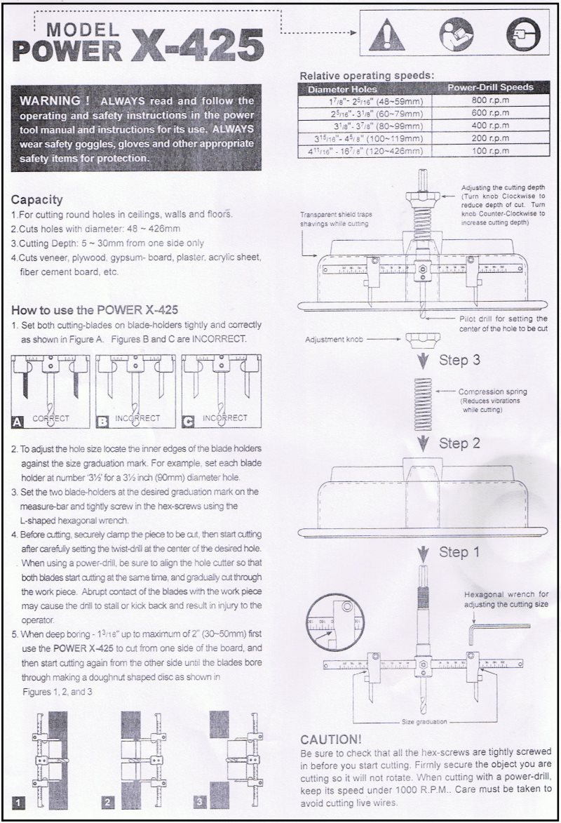 X-425 instructions